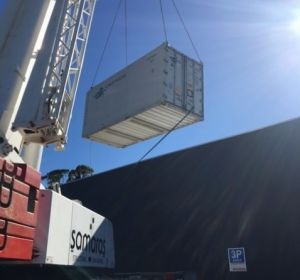 A crane had to be used for the installation of a refrigerated shipping container in the Adelaide suburb of Frewville