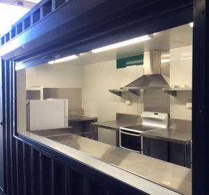 Our client in Longwood Retreat,Mylor,required a cost effective mobile solution to accommodate their Airbnb guests-enter ICS with our 20' shared container kitchen